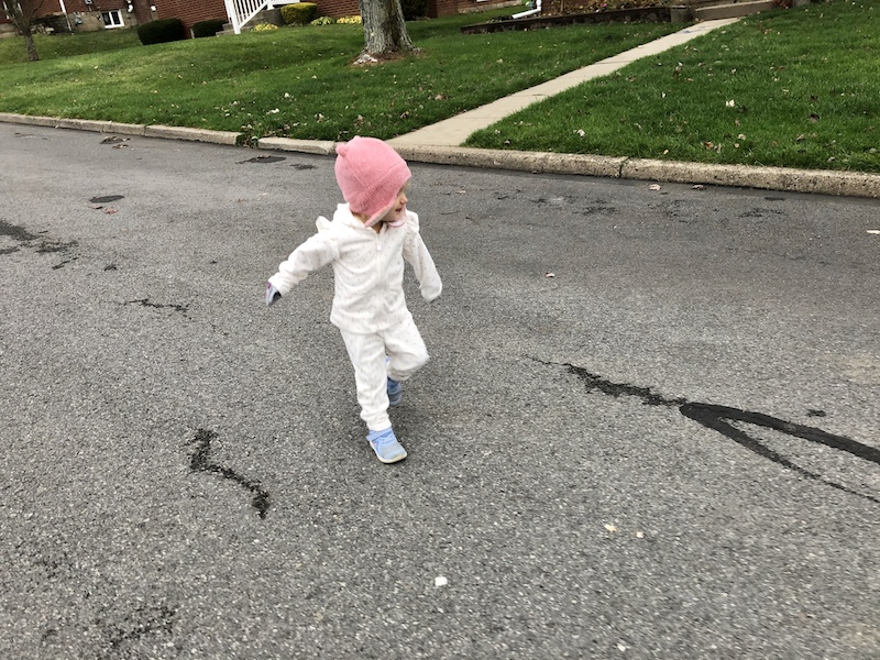 Toddler taking a walk
