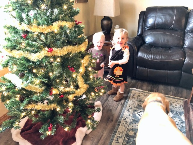Toddlers playing with Christmas tree