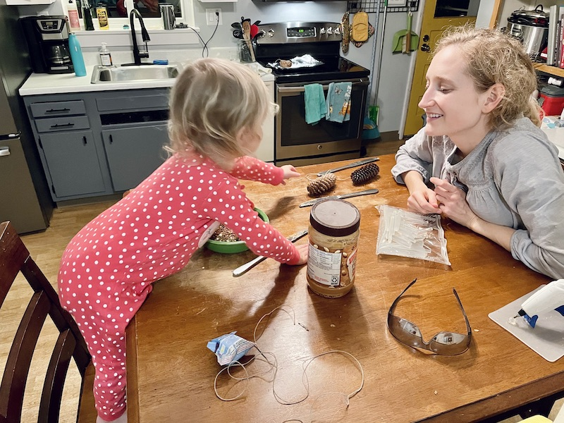 Mom and daughter making bird feeders with pinecones