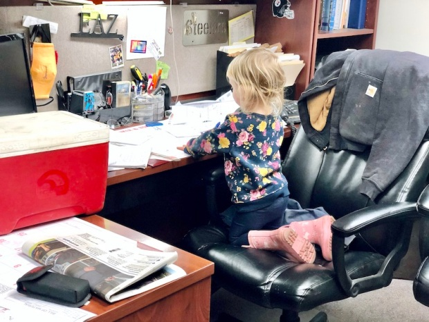 Toddler at work desk