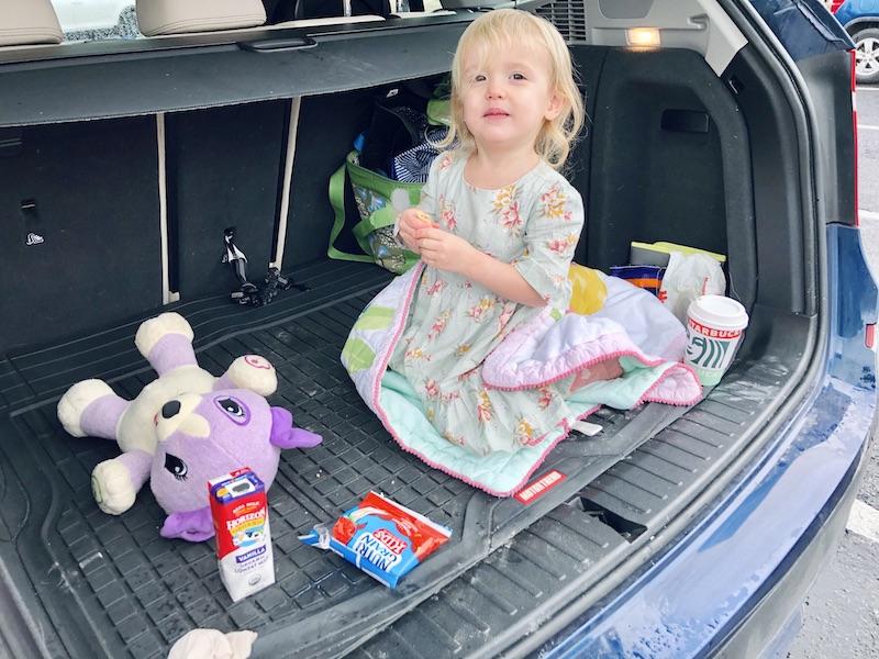 Toddler in back of car