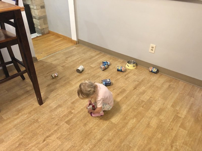 Toddler playing with canned goods