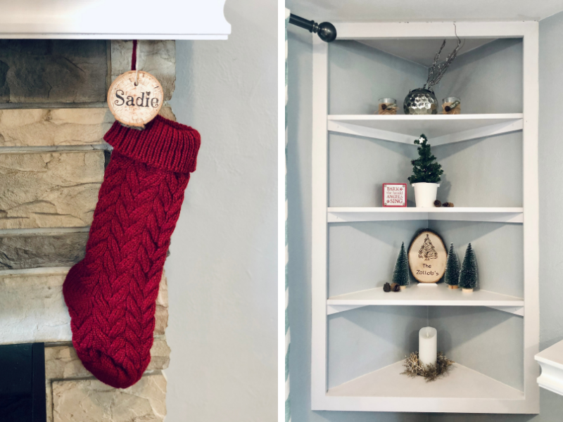 Knit red Christmas stocking with wood burned name tag and decorated corner shelf