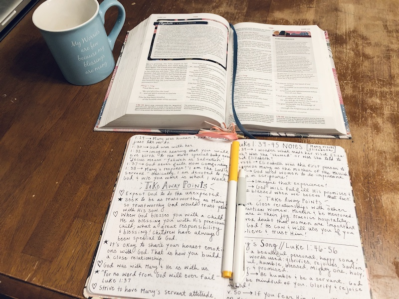 Bible and journal with coffee