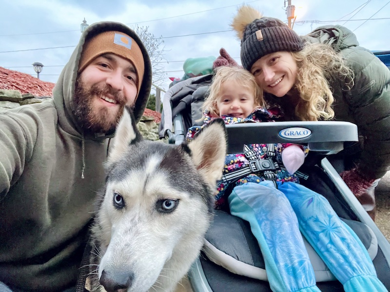 Family on a walk with toddler in stroller and husky