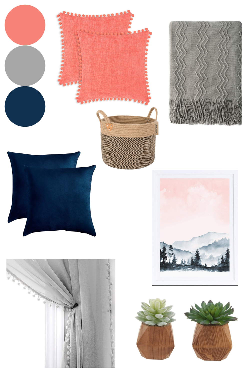 Navy blue and coral living room decor