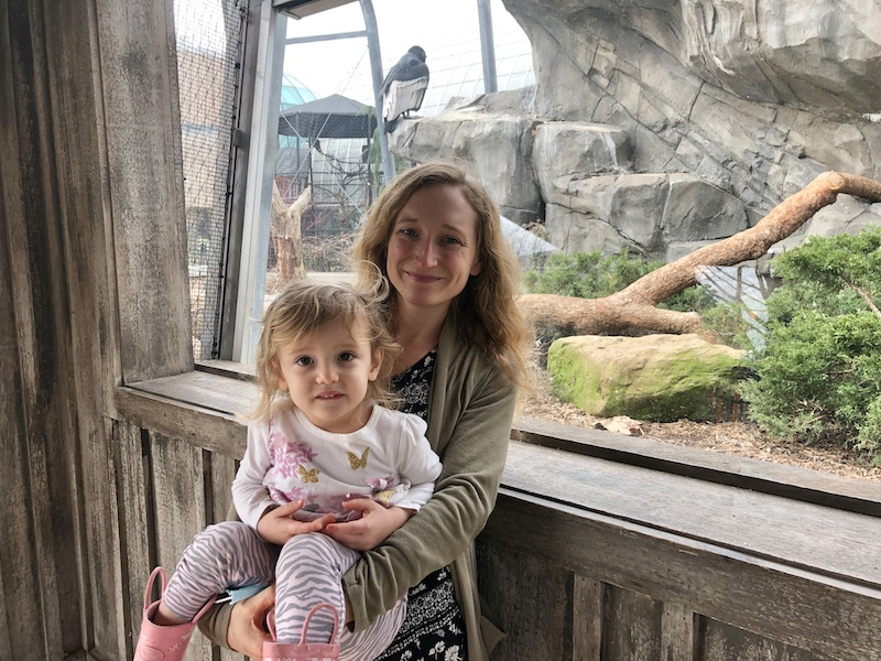 Mom and child with condor at National Aviary in Pittsburgh, PA