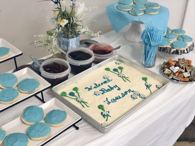 Baby shower cheesecake for boy