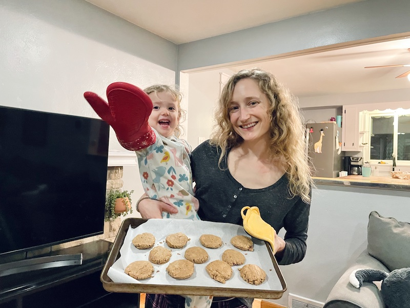 Mom and toddler with peanut butter cookies