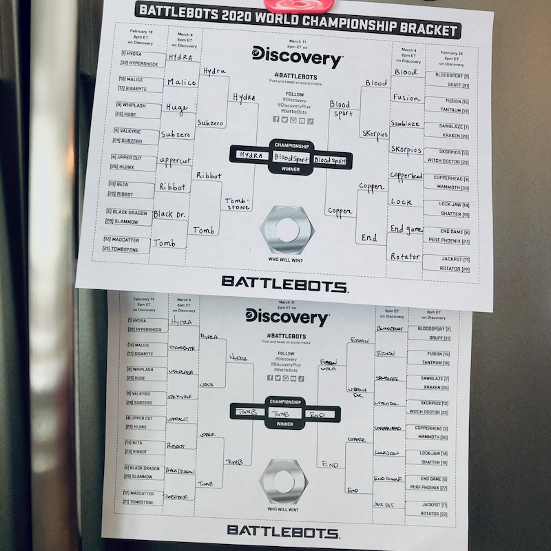 Battle Bots World Championship Brackets