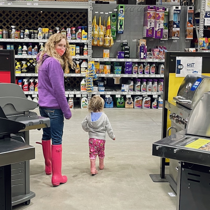 Mom and toddler at Lowes
