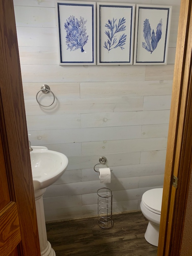 Bathroom with shiplap walls and blue decor accents