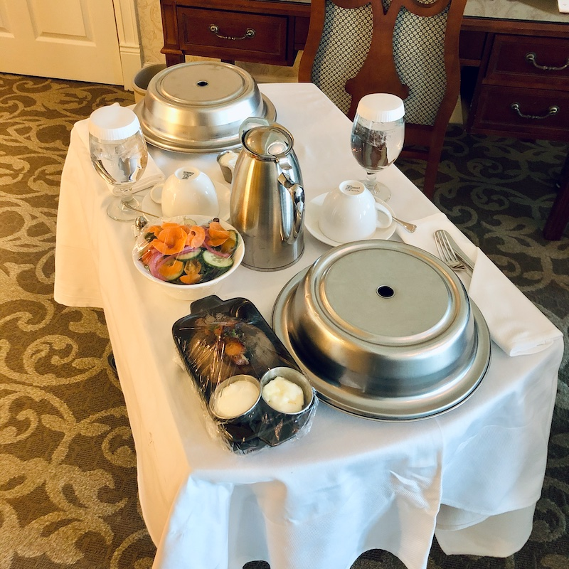 Room service dinner from Rockwell's at Nemacolin Woodlands Resort