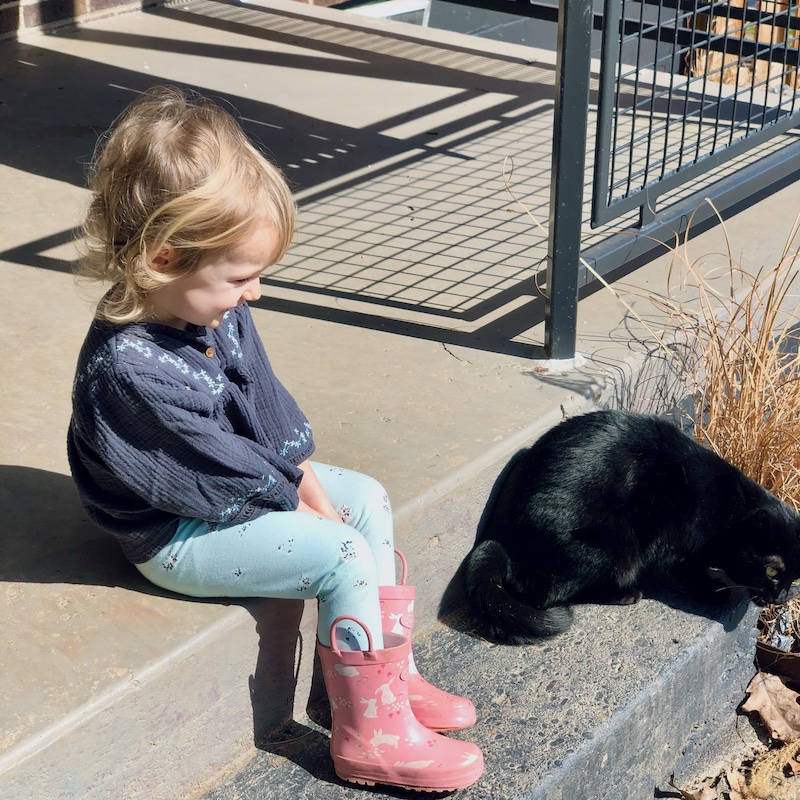 Toddler and cat sitting outside