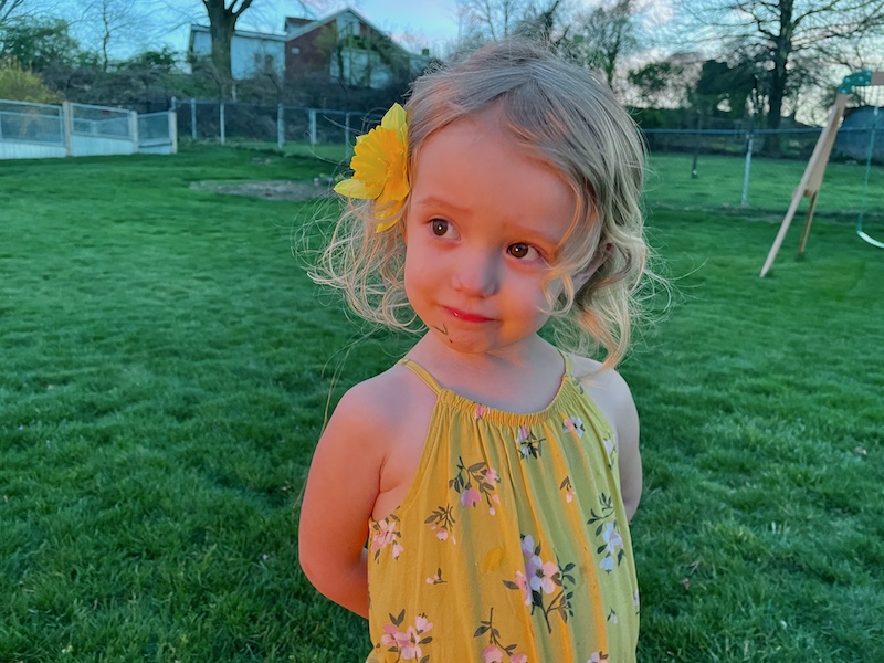 Toddler girl with flower in her hair