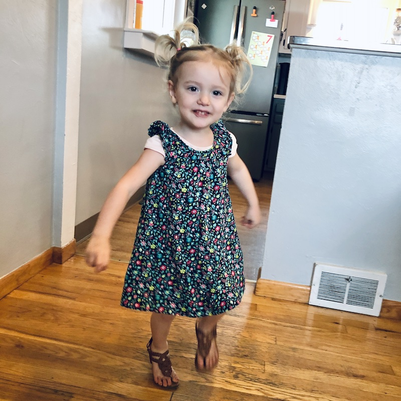 Toddler girl with pigtails and dress