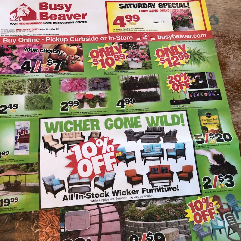 Funny ad about wicker gone wild in home improvement store flyer