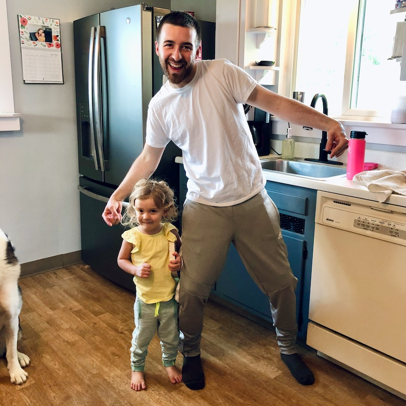 Father and daughter wearing joggers