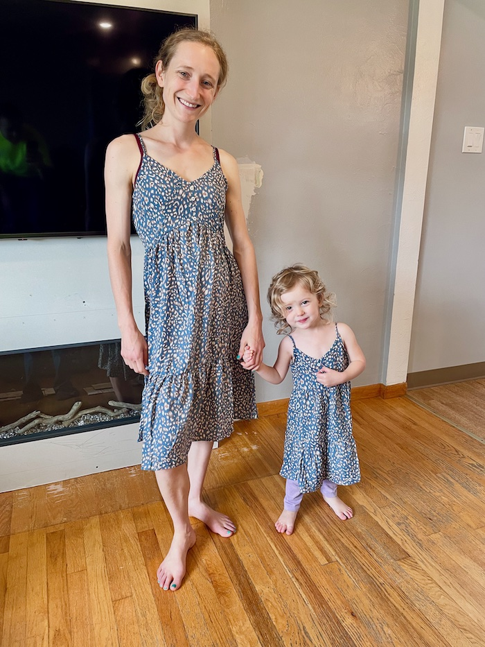 Mommy and me matching dresses for mom and toddler