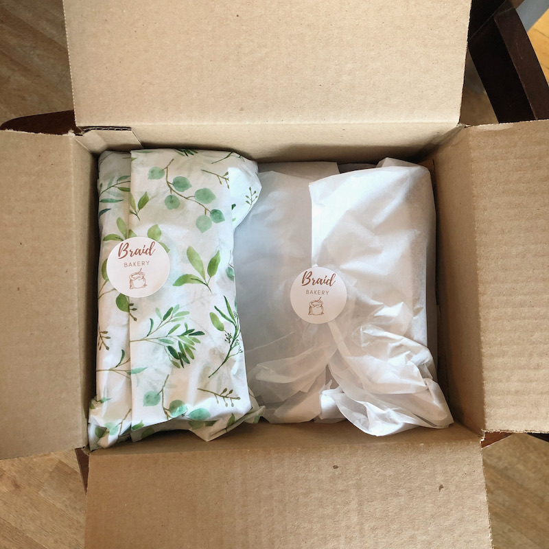 Etsy shop Braid Bakery granola order in box