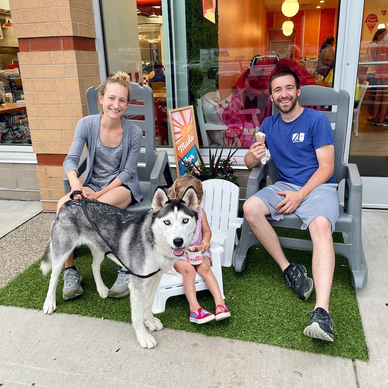 Family with dog at Millie's ice cream in Bridgeville