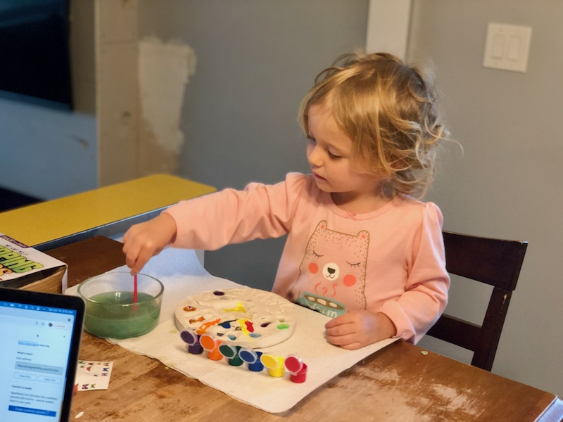 Toddler painting stepping stone