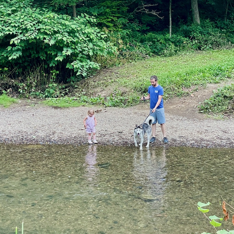 Father and daughter with husky in creek on Panhandle Trail