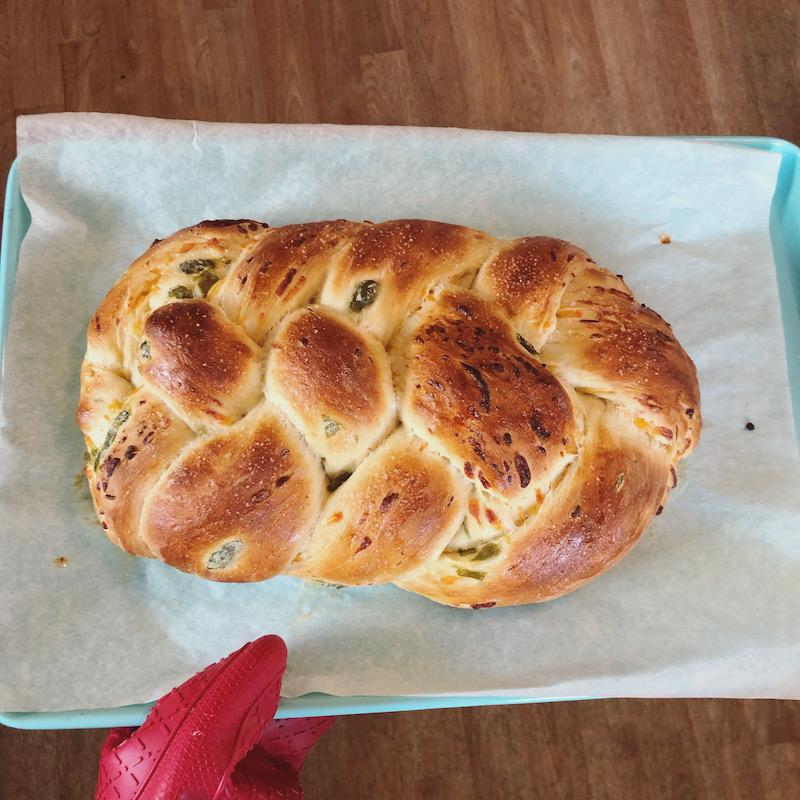 Cheddar jalapeno challah bread