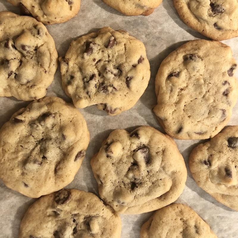 Chocolate chip cookies closeup =