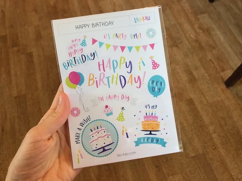 Lau-Kau Happy Birthday sticker sheet