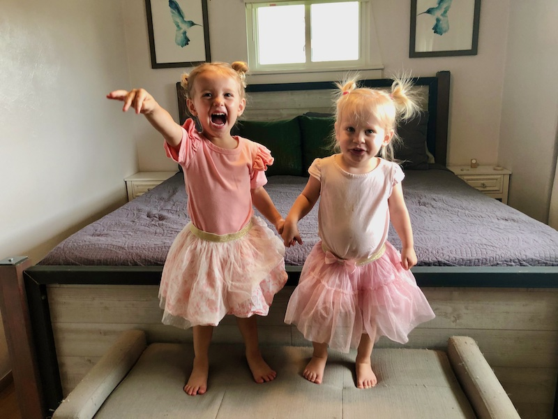 Toddler girls with matching outfits holding hands
