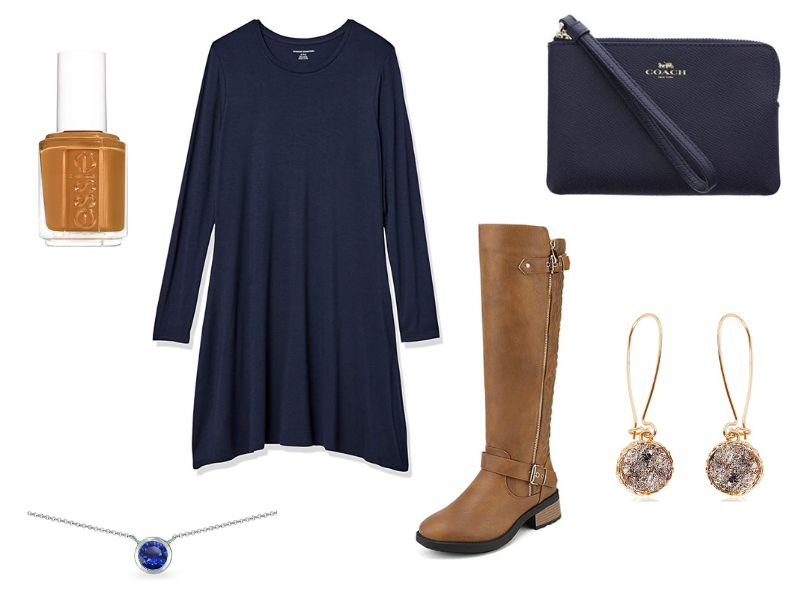 Fall dress and boots outfit for women with navy blue dress and brown riding boots.