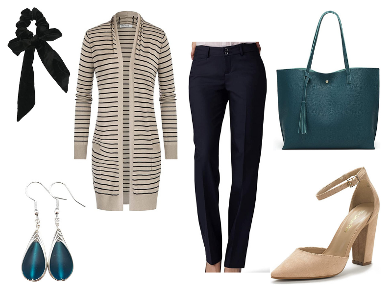 Fall outfit for women with striped cardigan and black dress pants.