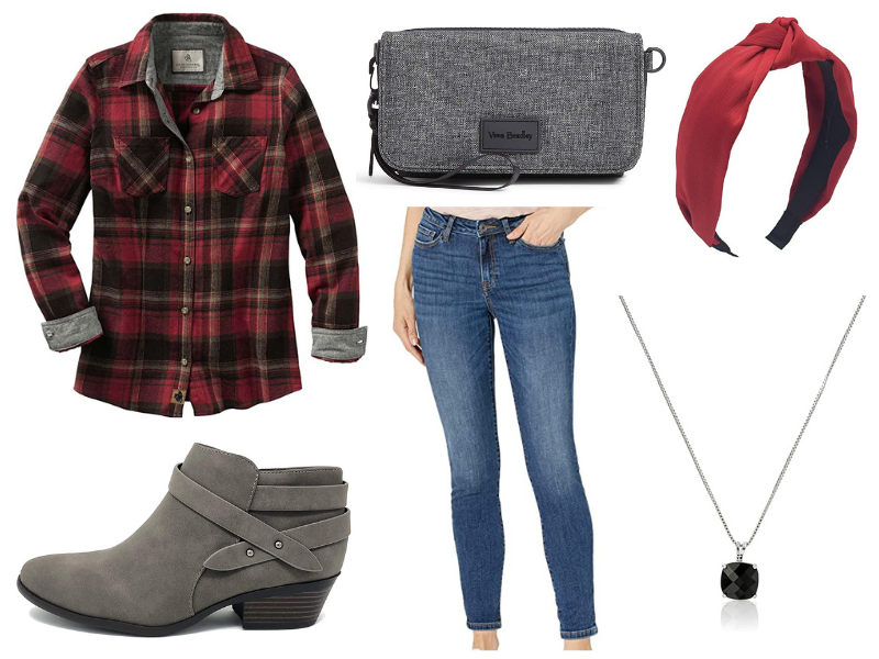 Fall flannel and jeans outfit for women.
