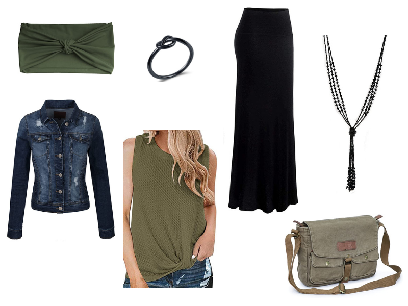 Fall outfit for women with olive green top and black maxi skirt and a jean jacket.