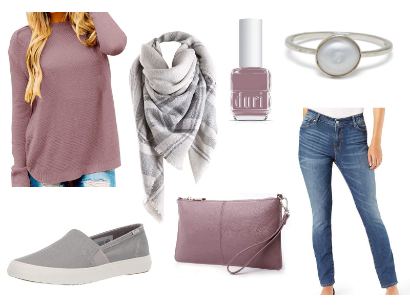 Fall outfit with mauve sweater, blanket scarf, and gray shoes.