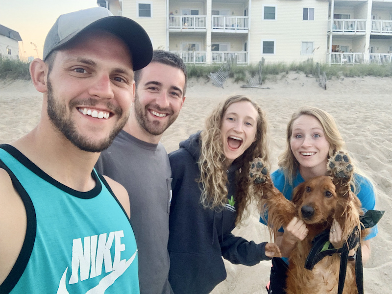 Young adults on the beach in the Outer Banks