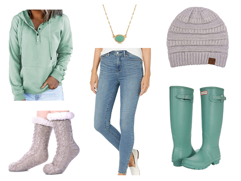 Women's fall outfit with hoodie and Hunter rain boots.