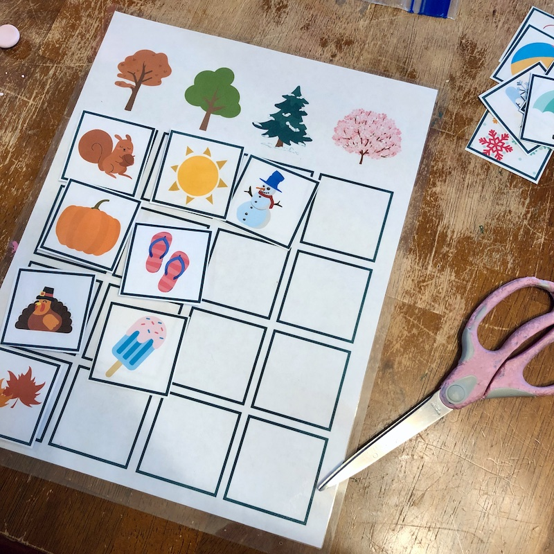 Preschool worksheet to teach seasons with using a laminator